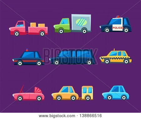 Different Toy Cars Set Of Bright Color Vehicles In Simple Childish Style Isolated On Dark Background