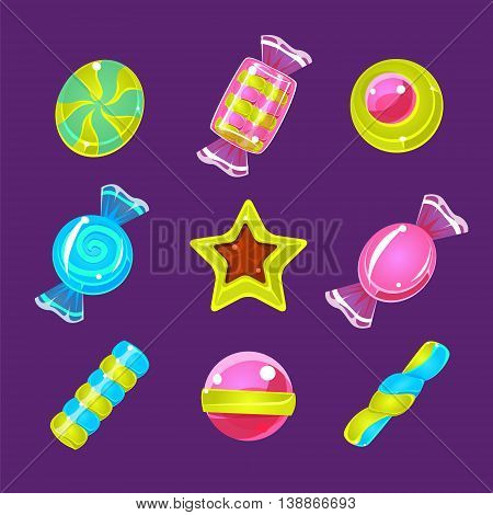 Hard Candy Colorful Simplified Icons Flat Cartoon Vector Icons Isolated On Dark Bckground