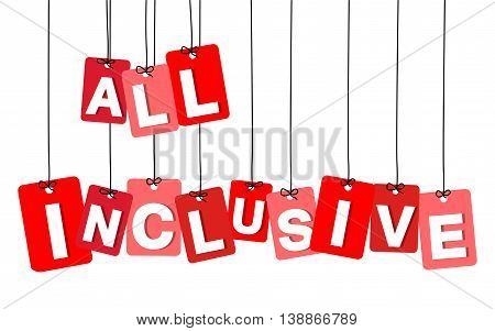 Vector colorful hanging cardboard. Tags - all inclusive on white background