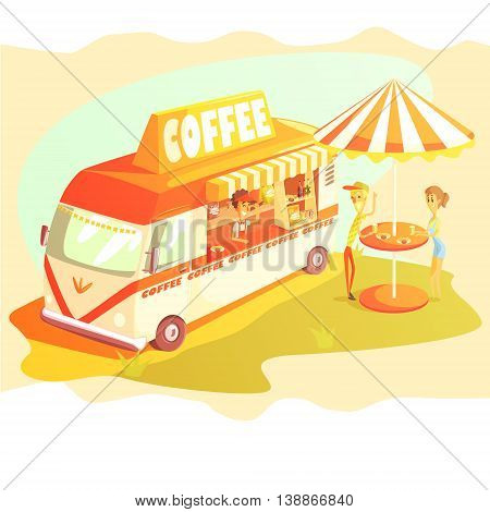Coffee Shop Cafe In Mini Bus On Sunny Day With Outdoors Table Cool Colorful Vector Illustration In Stylized Geometric Cartoon Design