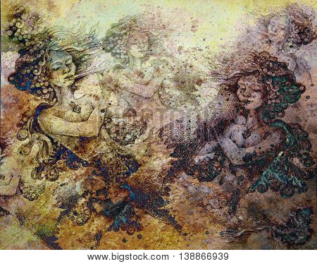 sea mermaids playing on flute, colorful abstract background pattern.