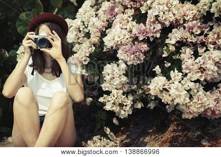 Female Outdoors Flower Photography Concept