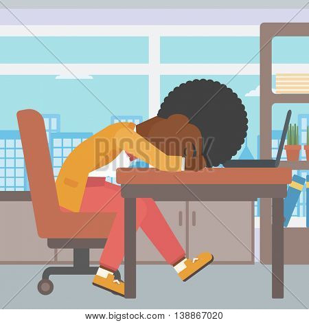 An african-american tired business woman sleeping on laptop keyboard in the office. Young business woman resting at workplace. Vector flat design illustration. Square layout.