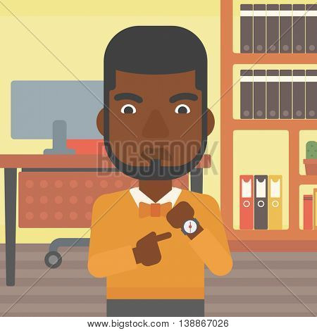 An african-american angry businessman standing in the office and pointing at his wrist watch. Concept of late to work. Vector flat design illustration. Square layout.