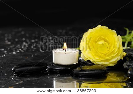 Lying down yellow ranunculus with candle and therapy stones