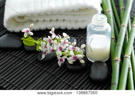 Spa setting on mat background