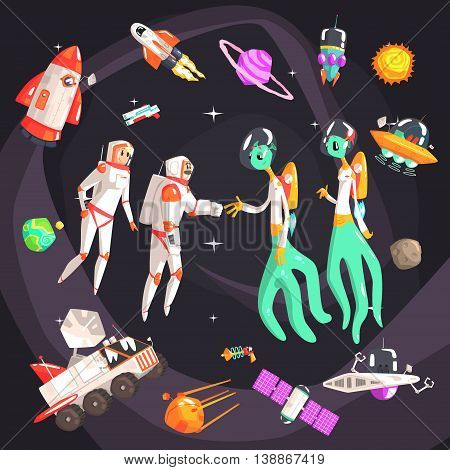 Astronauts Shaking Hands With Extraterrestrial Beings In Space Surrounded By Space Travel Related ObjectsCool Colorful Vector Illustration In Stylized Geometric Cartoon Design
