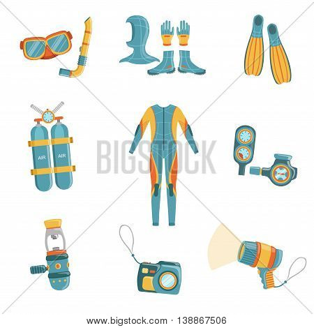 Scuba Diving Gear Bright Color Cartoon Simple Style Flat Vector Set Of Stickers Isolated On White Background