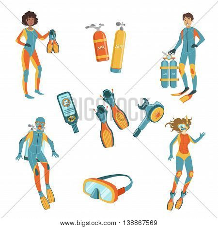 People, Scuba Diving And Free diving Gear Bright Color Cartoon Simple Style Flat Vector Set Of Stickers Isolated On White Background
