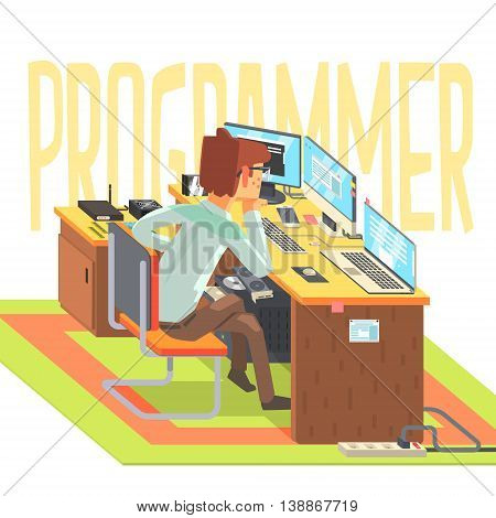 Hacker, working at a laptop, vector illustration in flat style
