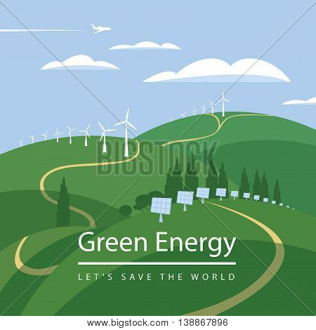 green energy wind turbines and solar panels on the landscape clouds sky