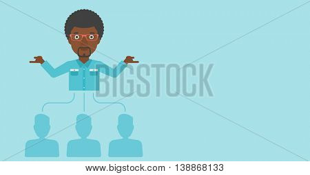 Three employees linked with an african-american businessman. Businessman with the beard choosing employee. Concept of searching for stuff. Vector flat design illustration. Horizontal layout.