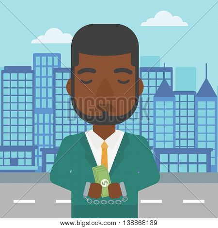 An african-american young businessman in handcuffs with money in hands on the background of modern city. Businessman handcuffed for crime. Vector flat design illustration. Square layout.