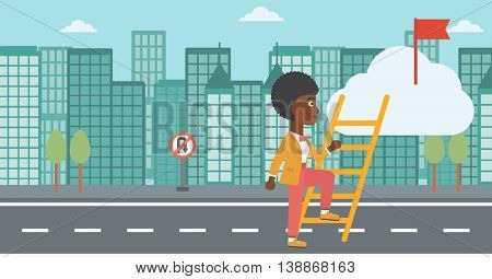 An african-american young business woman climbing up the ladder to get the red flag on the top of the cloud. Vector flat design illustration. Horizontal layout.