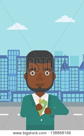 An african-american young businessman putting money in his pocket on a city background. Vector flat design illustration. Vertical layout.