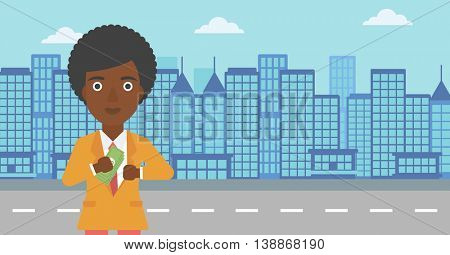 An african-american young business woman putting money in her pocket on a city background. Vector flat design illustration. Horizontal layout.