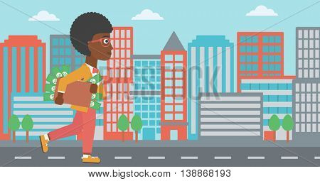 An african-american young business woman walking in the city with suitcase full of money. Vector flat design illustration. Horizontal layout.