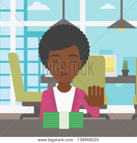 An african-american young business woman sitting at the table in office and moving dollar bills away. Vector flat design illustration. Square layout.