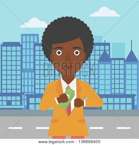 An african-american young business woman putting money in her pocket on a city background. Vector flat design illustration. Square layout.