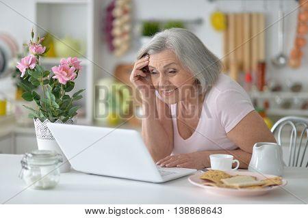 Portrait of a joyful senior woman with laptop