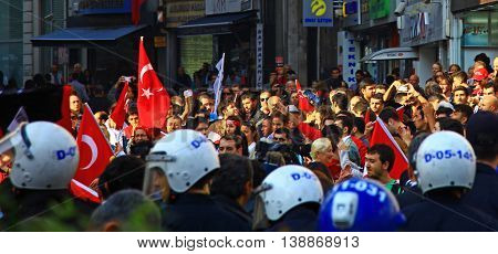 ISTANBUL TURKEY - 29 October 2013: Celebration of the Republic Day (Istiklal Street).