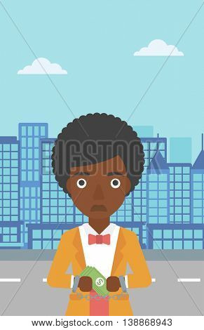 An african-american young business woman in handcuffs with money in hands on the background of modern city. Business woman handcuffed for crime. Vector flat design illustration. Vertical layout.