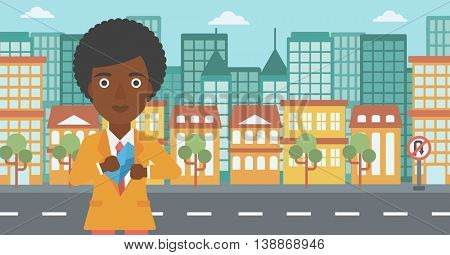 An african-american young business woman putting an envelope in her pocket on a city background. Vector flat design illustration. Horizontal layout.