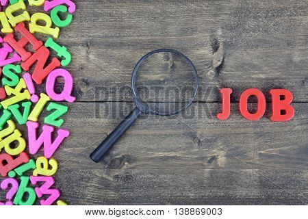 Job word on wooden table