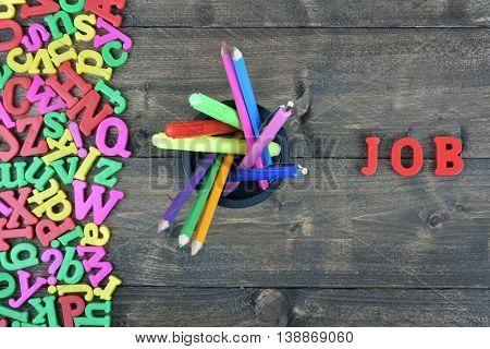 Job word on wooden table