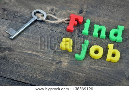 Find a job word on wooden table