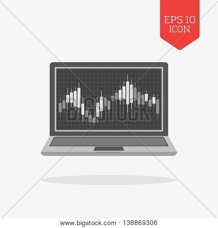 Laptop With Candlesticks Chart On Screen Icon. Stock Market Trading Concept. Flat Design Gray Color
