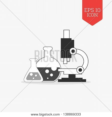 Flasks And Microscope Icon. Research Lab Concept. Flat Design Gray Color Symbol. Modern Ui Web Navig
