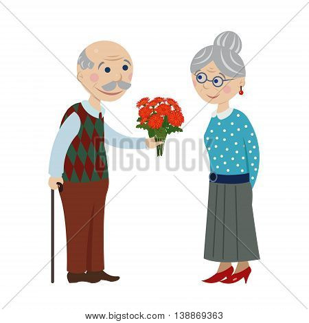 Grandpa gives flowers grandmother. Grandfather gives a bouquet of flowers grandmother