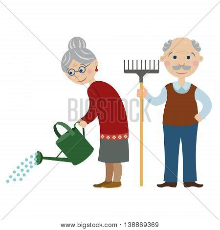 happy cartoon gardeners grandparents.Grandma is watering from a watering can. grandfather with a rake