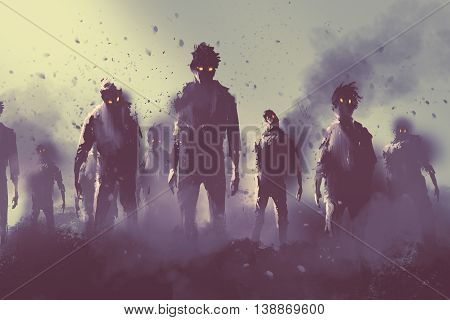 zombie crowd walking at night, halloween concep, tillustration painting