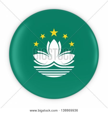 Macanese Flag Button - Flag Of Macau Badge 3D Illustration