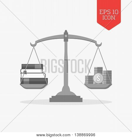 Books And Coins On Scales Icon. Knowledge Is Wealth Concept. Flat Design Gray Color Symbol. Modern U