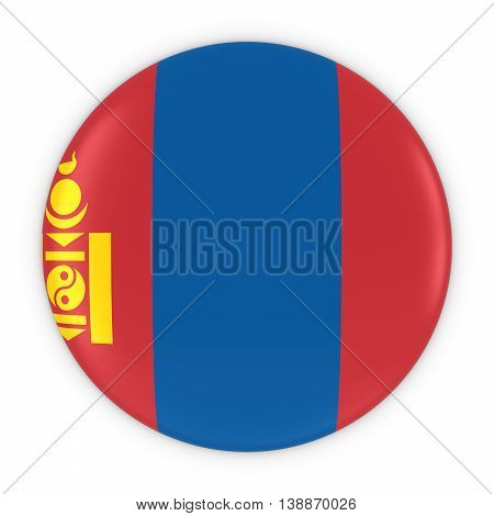 Mongolian Flag Button - Flag Of Mongolia Badge 3D Illustration