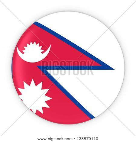 Nepalese Flag Button - Flag Of Nepal Badge 3D Illustration