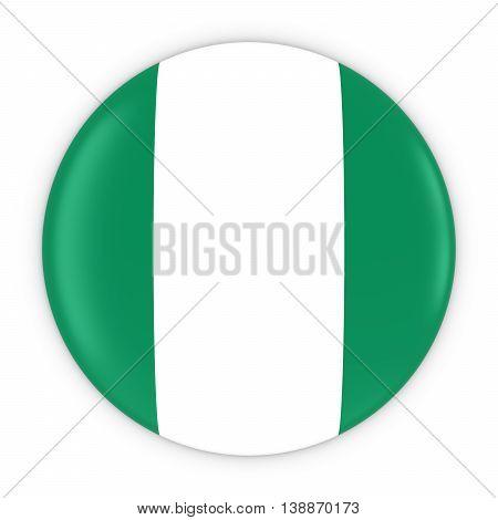 Nigerian Flag Button - Flag Of Nigeria Badge 3D Illustration