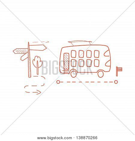 Double Decked Bus With The Dotted Line Route Hand Drawn Childish Illustration In Funny Comic Style On White Background