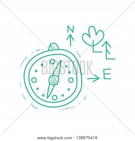 Compass And Symbolic Map Trees Signs Hand Drawn Childish Illustration In Funny Comic Style On White Background
