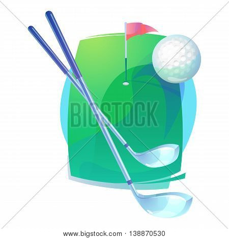 Golf gear or equipment that contains irons or hybrid, putters clubs and flying gutty ball with trail over level field or pitch with flag near hole. Can be used for championships or tournaments theme