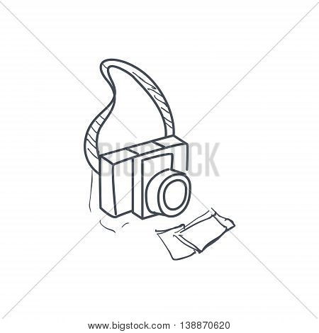 Old-School Film Camera And Two Pictures Hand Drawn Childish Illustration In Funny Comic Style On White Background