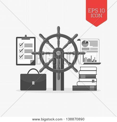 Management, Leadeship Concept Icon. Flat Design Gray Color Symbol. Modern Ui Web Navigation, Sign.
