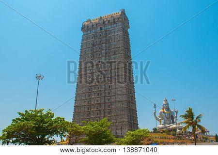 Statue Of Lord Shiva In Murudeshwar. The Raja Gopuram Tower. Temple In Karnataka, India