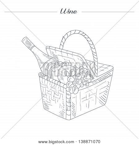Picnic Basket With Wine Hand Drawn Realistic Detailed Sketch In Beautiful Classy Style On White Background