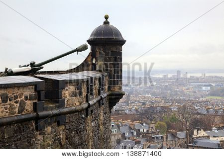 Canon at Edinburgh Castle with cityscape background