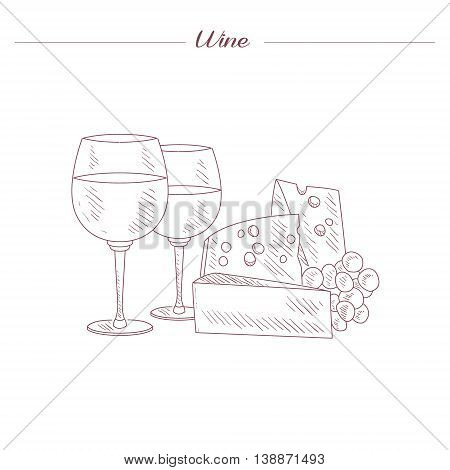 Wine And Cheese Date Set Hand Drawn Realistic Detailed Sketch In Beautiful Classy Style On White Background