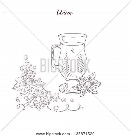 Glass Of Spiced Hot Wine Hand Drawn Realistic Detailed Sketch In Beautiful Classy Style On White Background